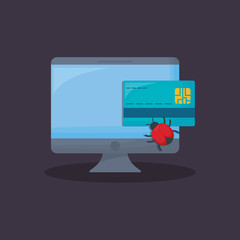 computer with credit card  and virus bug over blue background, colorful design. vector illustration