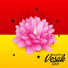 Vesak Day with Pink Lotus Flower.