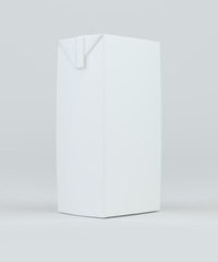 Milk and juice white carton package. 3d rendering.