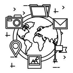 world planet with social media icons vector illustration design