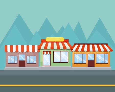 Landscape with stores and mountains, colorful design. vector illustration