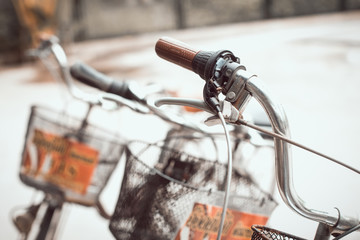 Detail of a Vintage Bicycle Handlebar (vintage color toned image)