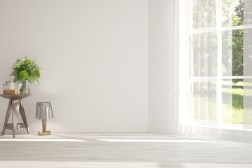 White empty room with decor and summer landscape in window. Scandinavian interior design. 3D illustration