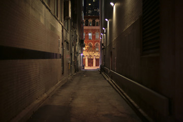 Acrylic Prints Narrow alley night alley