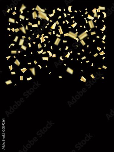 gold silver foil confetti falling down elegant christmas birthday party new year