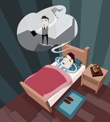 Sleeping businessman in a dream sees himself as a leader