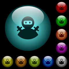 Ninja avatar icons in color illuminated glass buttons