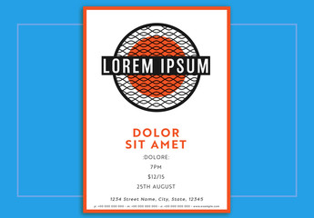 Event Poster Layout with Orange Accents