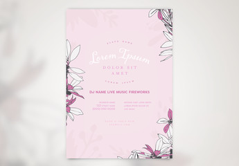 Event Poster Layout with Floral Illustrations