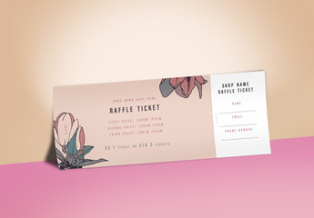 Raffle Ticket Layout with Floral Illustrations