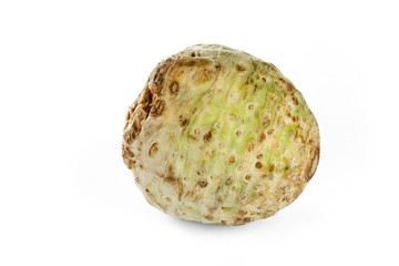 Celery root isolated on a white background.