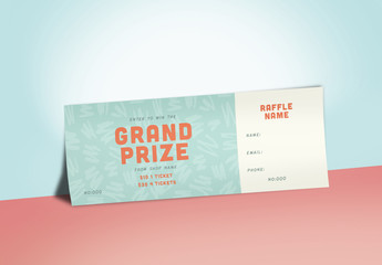 Raffle Ticket Layout with Green Textured Background