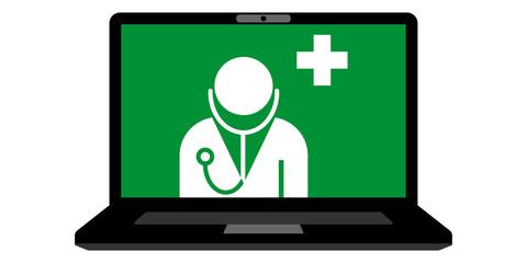 gz71 GrafikZeichnung - german: Gesundheit 4.0 - Telemedizin - english: Health 4.0 - telemedicine - E-Health - laptop isolated on white background - 2to1 xxl g6023