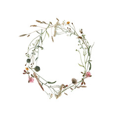 Watercolor wreath of meadow plants isolated on white.