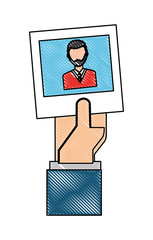 hand with picture of man character icon vector illustration design