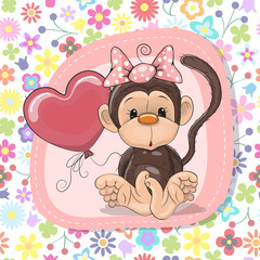 Cute Cartoon Monkey with balloon
