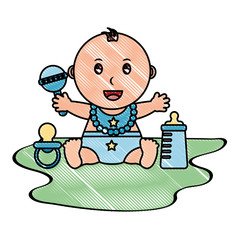 baby boy with diaper and accessories vector illustration design