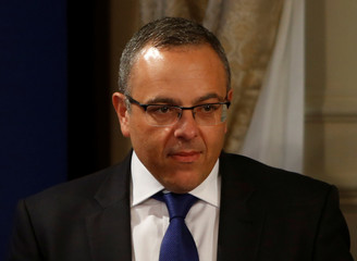 Keith Schembri, Chief of Staff in the office of Malta's Prime Minister Joseph Muscat, arrives for a joint news conference between Muscat and President of the European Council Donald Tusk in Valletta