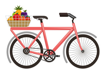 Printed roller blinds Bicycle bicycle with basket of fruits vector illustration design