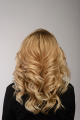 Healthy hair. Curly long hairstyle. Back view of Blond hairs.