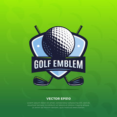 Golf shield sport emblem with golf ball and clubs vector illustration