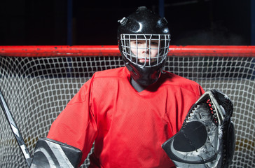 Portrait of hockey goalkeeper