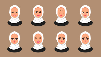 Set Facial expressions Young Arabic business woman wearing white hijab. Moslem Girl Face Covered with scarf. Vector illustration isolated from white background