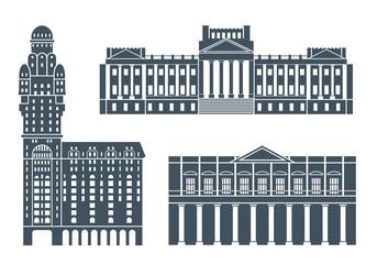 Uruguay set. Isolated Uruguay architecture on white background
