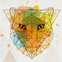 Hipster polygonal animal cheetah on artistic watercolor background