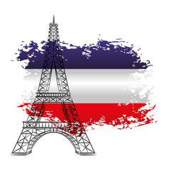 french tower eiffel on flag france grunge image vector illustration