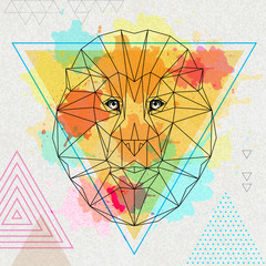 Foto op Canvas Klassieke abstractie Hipster polygonal animal lion on artistic watercolor background