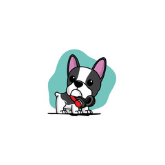 Cute french bulldog puppy with red headphones on neck  icon, logo design, vector illustration