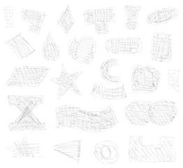 shapes set sketch vector