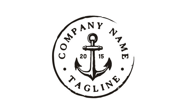 Anchor Hipster Vintage Retro Circular Rustic Stamp Hand Drawn Boat Ship Marine Navy Nautical logo design