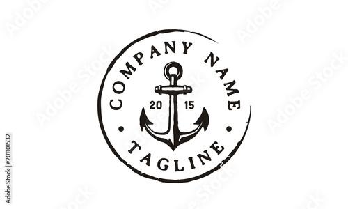 Vintage Rustic Anchor Emblem Logo Design Inspiration