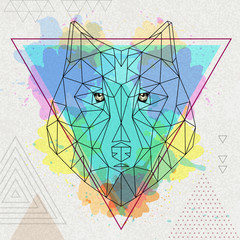 Hipster polygonal animal wolf on artistic watercolor background