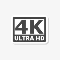 Ultra HD 4K sticker, simple vector icon