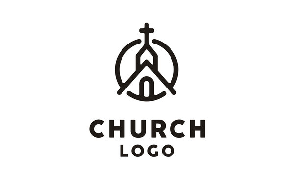 Church Building with Catholic Christian Cross symbol logo