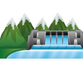 hydroelectric dam with landscape vector illustration design
