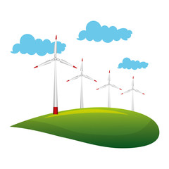 landscape with turbines energy power vector illustration design