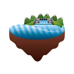 hydroelectric dam over terrain vector illustration design
