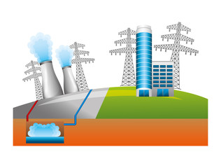 nuclear energy chimney with buildings and towers vector illustration design