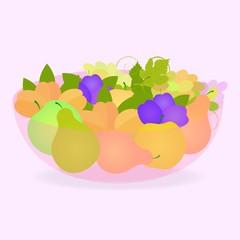 Спелые фрукты в розовой вазе