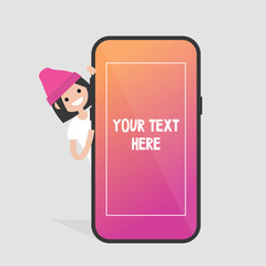 Female millennial character peeping out from behind the mobile phone. Your text here. Template. Smart phone screen. Flat editable vector illustration, clip art