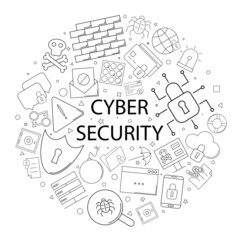 Vector cyber security pattern with word. Cybear security background