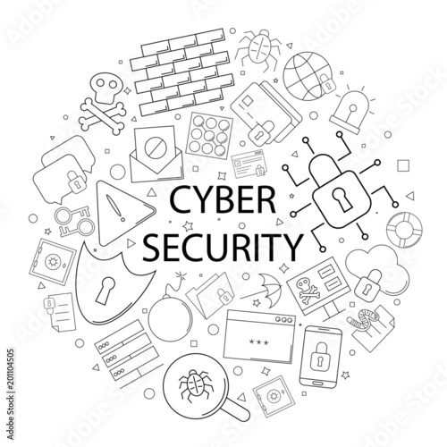 Vector Cyber Security Pattern With Word Cybear Security Background