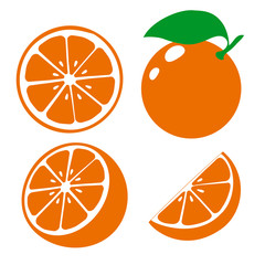 Icon orange fruits. Set fresh orange and slice. Isolated on white background. Vector