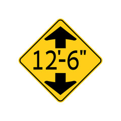 USA traffic road signs. low clearance ahead. vector illustration