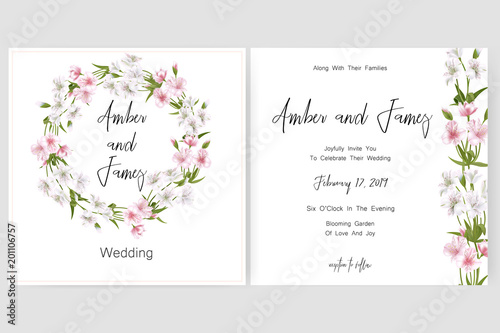 Save the date card wedding invitation greeting card with beautiful save the date card wedding invitation greeting card with beautiful alstroemeria flowers and letters m4hsunfo