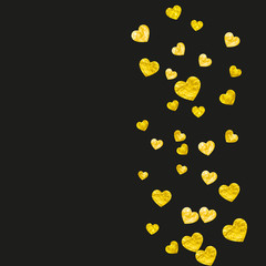 Wedding confetti with gold glitter hearts. Valentines day. Vector background. Hand drawn texture. Love theme for party invite, retail offer and ad. Wedding confetti template with hearts.